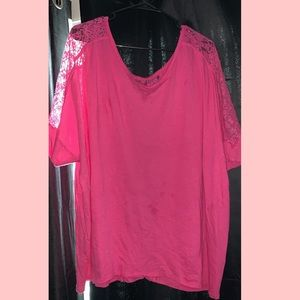 Bright pink top with lace
